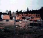The present Sechelt Public Library building under construction, 1996.  (Sechelt Community Archives)