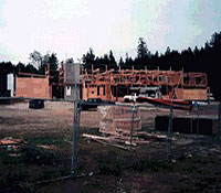 The present Sechelt Public Library building under construction, 1996. (Sechelt Community Archives)