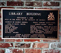 The plaque outside the Sechelt Public Library, November 1996. (Sechelt Community Archives)
