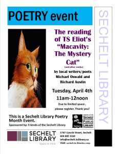 Poetry event - Macavity reading