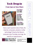 Tech Drop-in poster - updated june 11th for summer dates on tuesdays