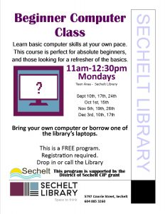 Beginner Computer Class @ Community Room - Sechelt Library