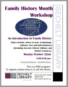 Family History Month - Introduction to Family History with Teresa Eckford @ Community Room - Sechelt Library
