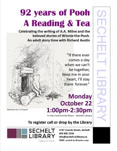 92 years of Pooh...A Reading & Tea... @ Community Room - Sechelt Library