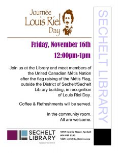 Louis Riel Day - Métis Flag Raising @ Community Room - Sechelt Library