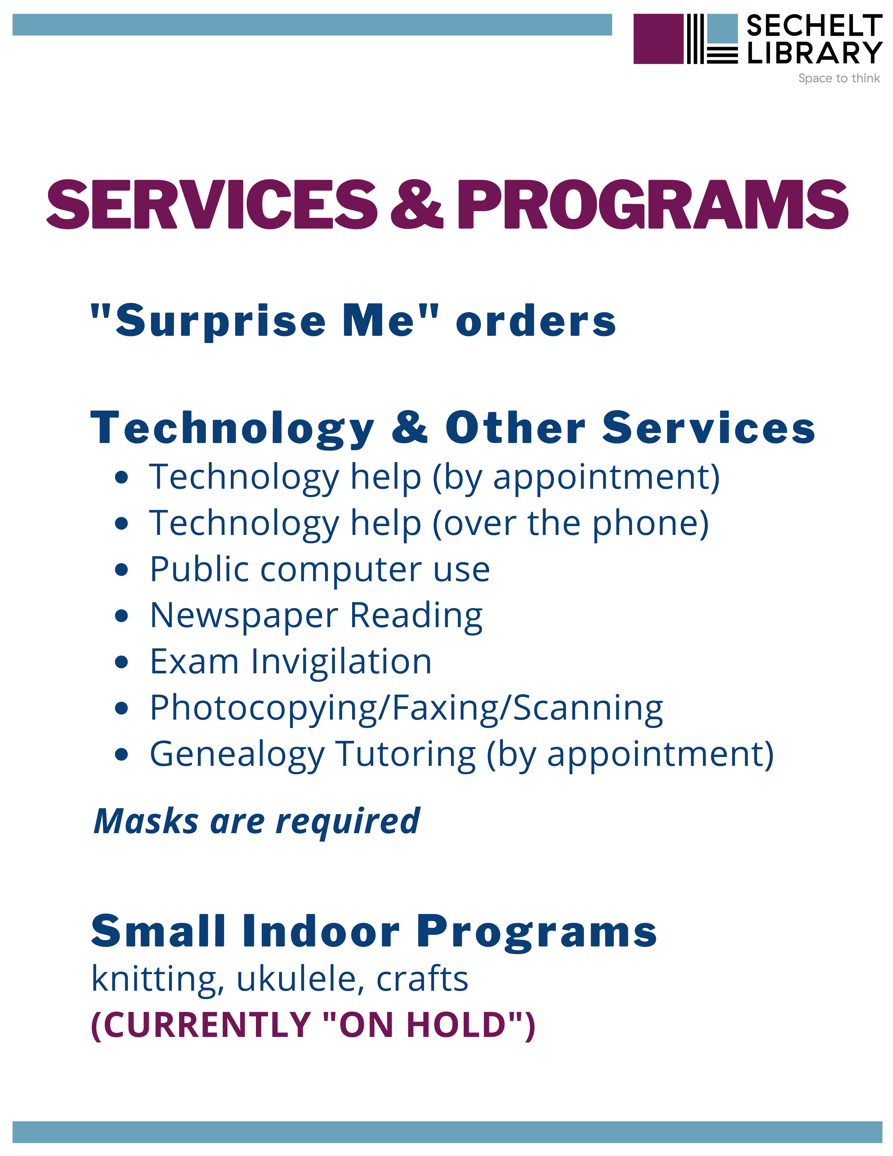 All Current Services and Programs
